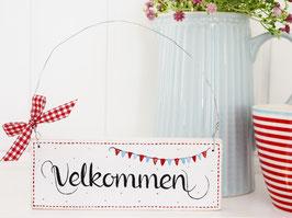 """Holzschild """"Velkommen"""" - weiß/rot, mit Wimpelkette, im skandinavischen Landhausstil"""