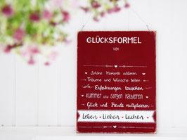 """Holzschild """"Glücksformel von ..."""", personalisiert mit Wunschnamen"""