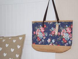 """Tasche """"Madita"""" - mit Blütenprint  blau"""