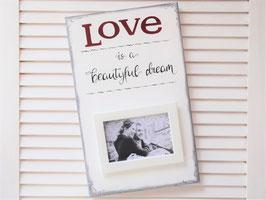 """Holzschild """"Love..."""" - mit Fotorahmen"""