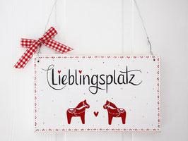 """Holzschild """"Nellie"""" - weiß/rot, mit Dalarna_Pferdchen"""