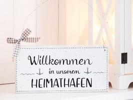"""Holzschild  """"Willkommen in unserem Heimathafen""""  -  weiß mit grauen Ankern"""