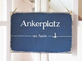 """Türschild """"Hajo"""" - Ankerplatz von Familie ..."""" - personalisiert mit Wunschnamen - für den Innenbereich"""