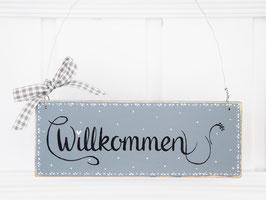 """Holzschild  """"Ivar"""" - *Willkommen* - grau/weiß/schwarz, im skandinavischen Landhausstil"""