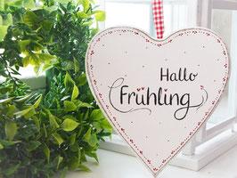 "Holz-Herz ""Marta"" - ""Hallo Frühling"" , antikweiß shabby"