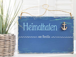 """Türschild """"Hinnerk"""" - Heimathafen von Familie ..."""" - personalisiert mit Wunschnamen - für den Innenbereich"""