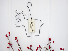 "Draht-Elch mit Anhänger ""Merry Christmas"""