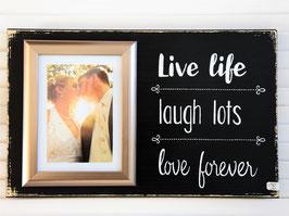 """Holzschild """"Live Laugh Love"""" - mit Fotorahmen"""