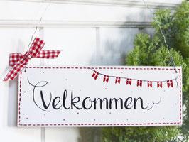 """Holzschild  """"Pelle"""" - *Velkommen* - im skandinavischen Landhausstil"""
