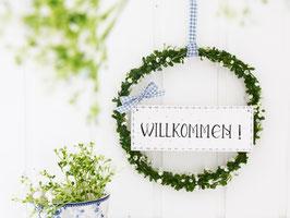 """Blütenkranz """"Inga"""" - mit Holzschild """"WILLKOMMEN"""" - (weiße Blüten)"""