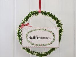 """Großer Blütenkranz """"Britt""""  - mit Holzschild """"Willkommen"""""""