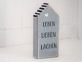 """Holzhaus """"Peer"""" - grau-schwarz-weiß, mit Pünktchen"""