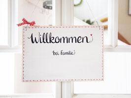 """Türschild """"Lotta""""  - *Willkommen bei Familie ...* - personalisiert mit Wunschnamen"""