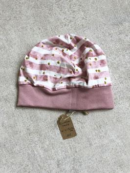 Bündchenhaube - KU 52-55cm - rosa gestreift