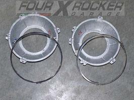 Coppia alloggiamento supporto fari + anelli cromati Land Rover  Serie 3
