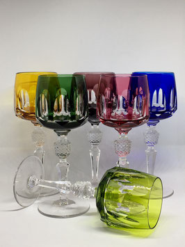 Set Vintage Colored Cut to Clear Crystal Wine Glasses - SOLDOUT - VENDIDO