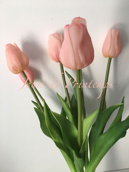 Botte de 4 grosses Tulipes et 3 boutons Rose pâle
