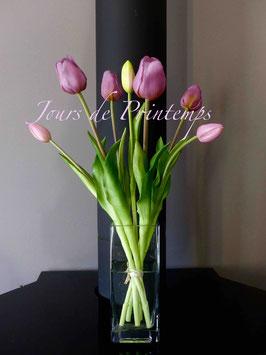 1 Botte de 4 grosses tulipes et 3 boutons Parme
