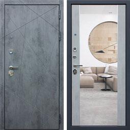 """""""ДУЭТ Б"""" с зеркалом, входная дверь, внутренняя панель - оттенок """"бетон светлый"""""""