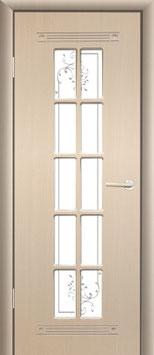 Модель PR-35 (остекленная, с декоративной решеткой), межкомнатная дверь.