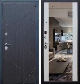 """""""ВЕКТОР"""" входная дверь с зеркалом, цвет внутренней панели - белая лиственница"""