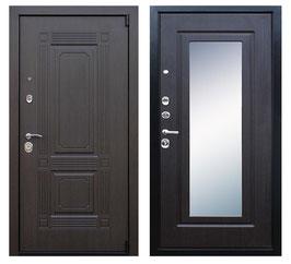 """""""ВИКИНГ"""", входная дверь с зеркалом, оттенок внутренней панели - """"венге"""""""