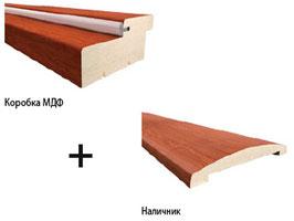 Комплект погонажных изделий: дверная коробка МДФ + закругленный наличник.