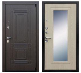 """""""ВИКИНГ"""", входная дверь с зеркалом, оттенок внутренней панели - """"белёный дуб"""""""