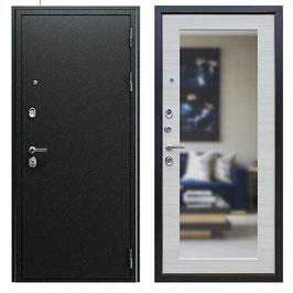 """""""NEXT-1 с зеркалом"""", входная дверь, оттенок внутренней панели - """"акация светлая поперечная"""""""