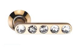 Комплект дверных ручек Sillur 200 P.GOLD / CRYSTAL