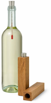 Weinthermometer mit Holzetui   Eiche massiv
