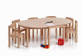 Kindertisch halbrund 120 x 60 cm | Buche