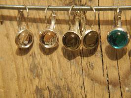 Ohrhänger, Antiksilber mit 10 mm Glashalbkugeln, Farbe nach Wahl