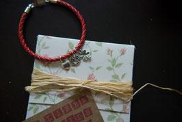 Mein Glück - Armband mit rotem Leder