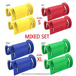 Clipeez® Einkaufswagen Schutzgriffe - MIXED SET (2x Set S + 2x Set XL) - Wunschfarben