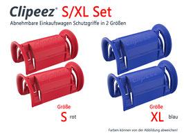 Clipeez® Einkaufswagengriffe - S/XL Set - 1x Set S (rot) + 1x Set XL (blau)
