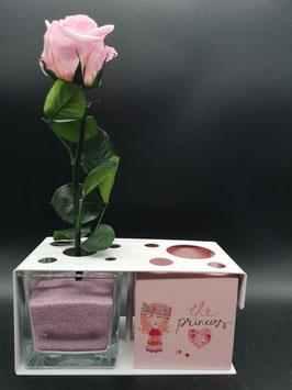 QUUQ 017 kit completo da appoggio in metallo verniciato con rosa e porta-oggetti laccato colore  rosa