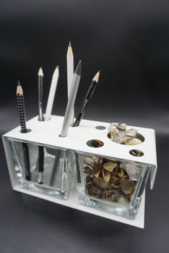 QUUQ 023 kit completo da appoggio in metallo verniciato con potporri e porta-oggetti BIANCO