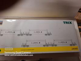 coffret de 4 wagons transport minerai TRIX essieux 2 rails coffret état neuf sans manque Réf : 24008