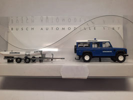 land rover gendarmerie + bateau HO 1/87 BUSCH Réf:50322