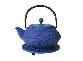 Miyazaki Cast Iron Teapot and Trivet, Blue