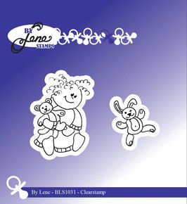 By Lene - Clear Stamp - Girl with Teddybear