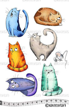 Katzelkraft Rubber Stamp A5 - Les Chats