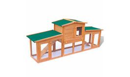 Clapier à lapin 2 étages en bois traité