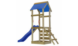 Aire de jeux bois avec toboggan,bac à sable et jeux d'escalade