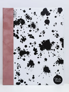 schwarz weiß gesprenkelt rosefarbener Einband