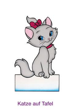 Katze auf Tafel