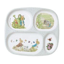 Teller mit 4 Fächern Peter Rabbit