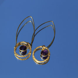 Boucles d'oreilles mini wishbone Améthyste avec anneau