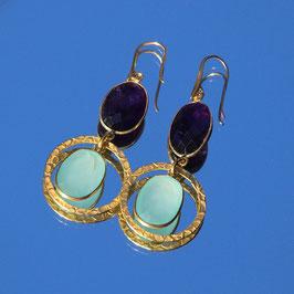 Boucles d'oreilles Améthyste et Aigue marine avec anneau